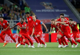 Anglijos rinktinė po 16 metų pertraukos dramatiškai prasibrovė į pasaulio čempionato ketvirtfinalį (VIDEO)