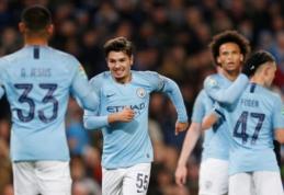 """""""Man City"""" be didelių problemų prasibrovė į Anglijos lygos taurės ketvirtfinalį"""