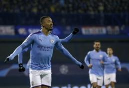 """ČL: G. Jesusas atvedė """"Man City"""" į pergalę, """"Atalanta"""" įšoko į aštuntfinalio traukinį"""