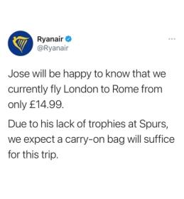 """""""Ryanair"""" """"patrolino"""" J. Mourinho"""