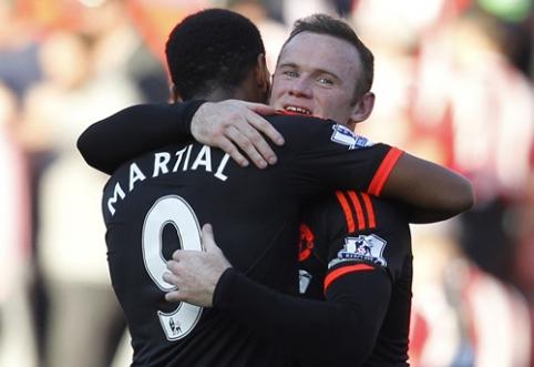 """Manchester United"" šeštadienį versis be W. Rooney ir A. Martialio"
