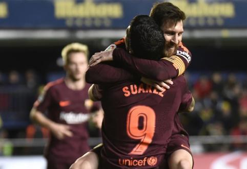 """Barcelona"" tik po atkaklios kovos nugalėjo dešimtyje žaidusį ""Villarreal"" (VIDEO)"