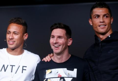"""Neymaras: """"Mokausi iš Messi ir Ronaldo kiekvieną dieną"""""""
