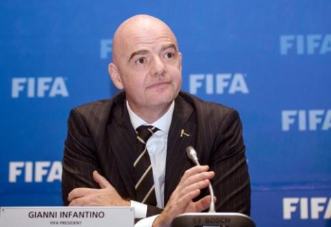 """G. Infantino: """"Bendras 2022-ųjų pasaulio čempionatas galėtų grąžinti taiką Artimuosiuose rytuose"""""""