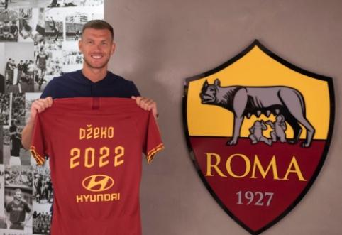 """Su """"Inter"""" sietas E. Džeko pasirašė naują sutartį """"Roma"""" klube"""
