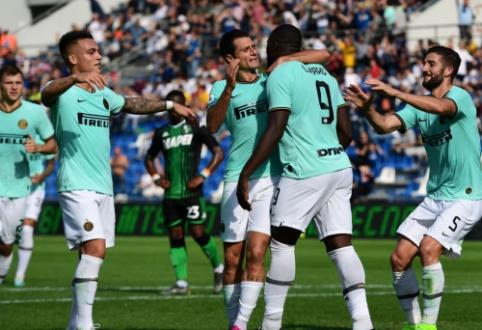 """""""Inter"""" rezultatyviame mače palaužė """"Sassuolo"""", """"Roma"""" nesugebėjo įveikti autsaiderių"""