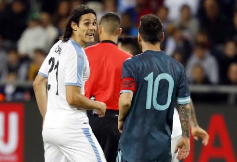"""Pietų Amerikos futbolo aistros: E. Cavani pasiūlė L. Messi stoti į """"vyrišką"""" kovą"""