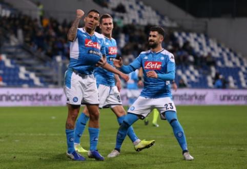"""""""Napoli"""" paskutinėmis akimirkomis išplėšė pergalę mače su """"Sassuolo"""""""