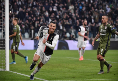 """C. Ronaldo vedamas """"Juventus"""" sutriuškino """"Cagliari"""", Ibra debiutavo """"Milan"""""""