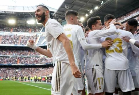 """K. Benzema įvartis nulėmė """"Real"""" pergalę Madrido derbyje"""