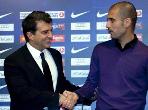 """Vėl """"Barcelona"""" prezidento posto sieksiantis J. Laporta žada sugrąžinti P. Guardiolą"""