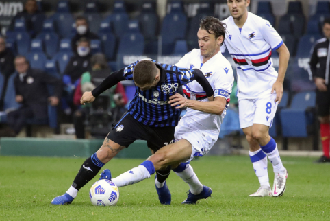 """""""Serie A"""": """"Atalanta"""" patyrė antrą pralaimėjimą iš eilės, """"Inter"""" iškovojo lengvą pergalę"""
