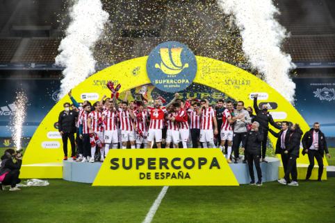 """Ispanijos Supertaurės finale – dramatiška """"Athletic"""" pergalė ir istorinis L. Messi pašalinimas"""