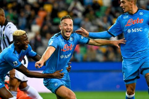 """""""Serie A"""": """"Napoli"""" išvykoje sutraiškė """"Udinese"""" ekipą"""